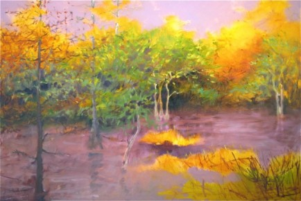 l-ross-gallery_pam-hassler_peterson-lake-in-sunlight_28x40