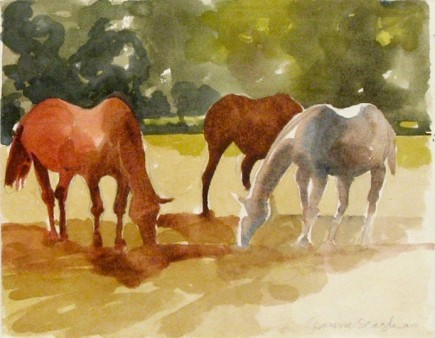 l-ross-gallery_jeanne-seagle_three-horses-grazing_10x13