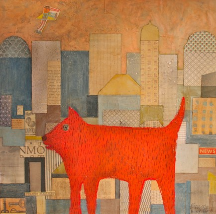 l-ross-gallery_leslie-barron_city-dog-and-superman_24x24