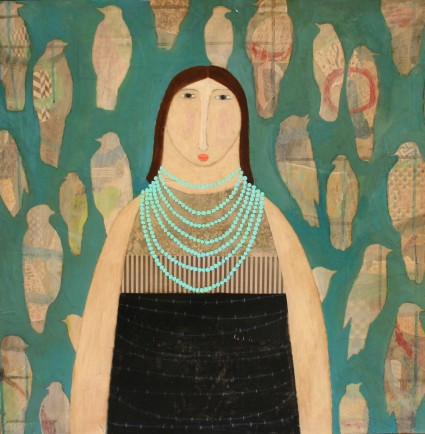 l-ross-gallery_leslie-barron_girl-with-turquoise-beads_24x24
