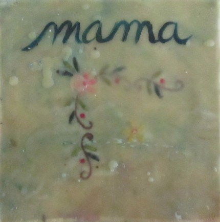"Jeni Stallings, ""Mama,"" oil and encaustic collage, 6 x 6"